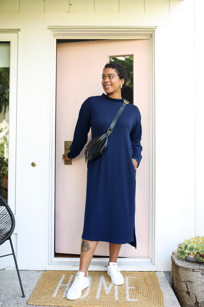 Blue Long Sleeve Sweater Dress | Winter Lounger Dress by Smash + Tess