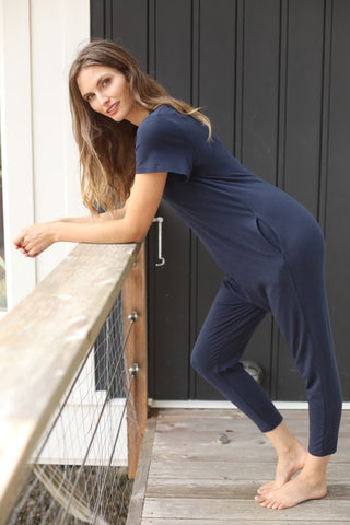 Short Sleeve Navy Jumpsuit for Women | Cute Rompers for Women