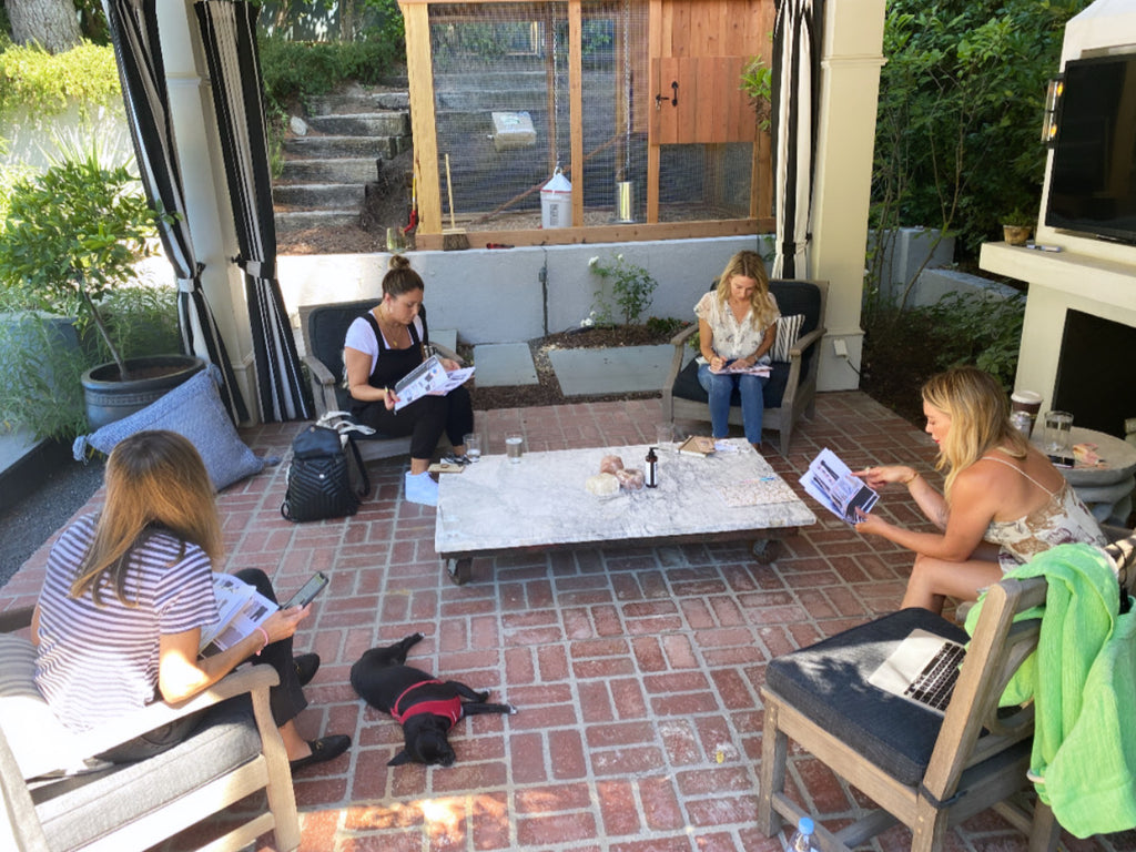 hilary duff and smash + tess team designing romper collection in garden