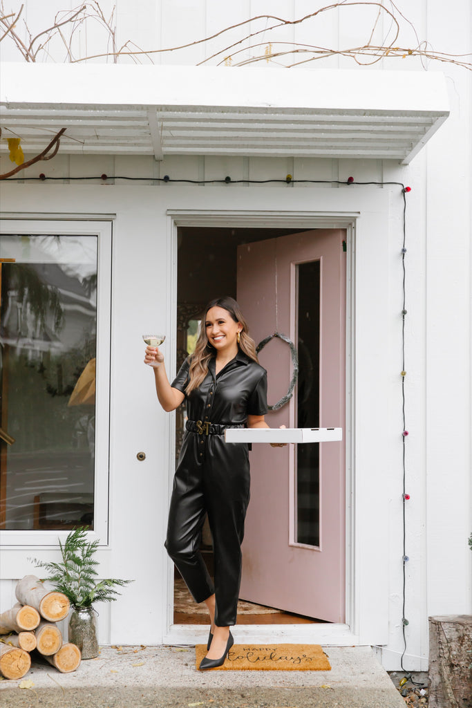smash + tess faux vegan leather jumpsuit