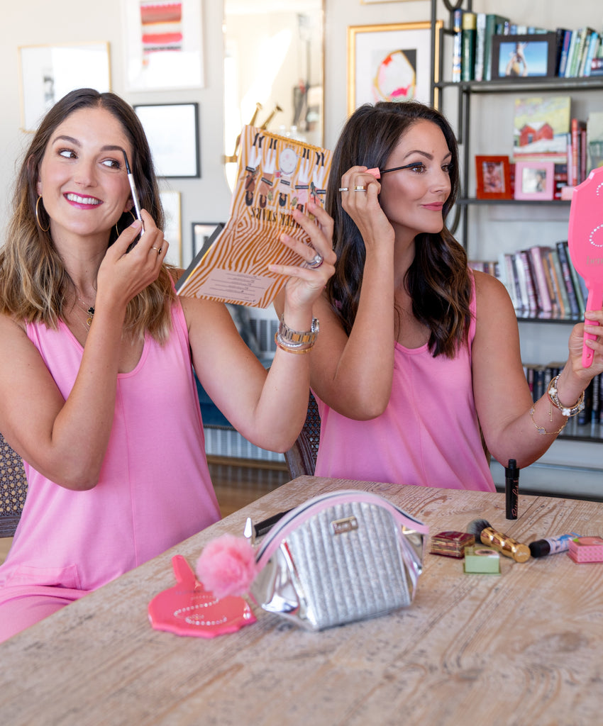 maggie and annie of benefit cosmetics wearing the smash + tess saturday benebabe romper