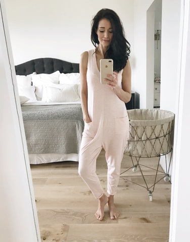 Food Blogger Tori Wesszer wearing sleeveless Romper from Smash + Tess | Jumpsuits for women