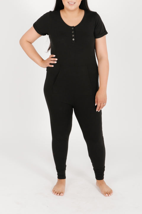 THE S+T ANYDAY ROMPER IN MIDNIGHT BLACK