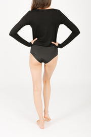 THE ALL-SEASON LONG BODYSUIT IN MIDNIGHT BLACK