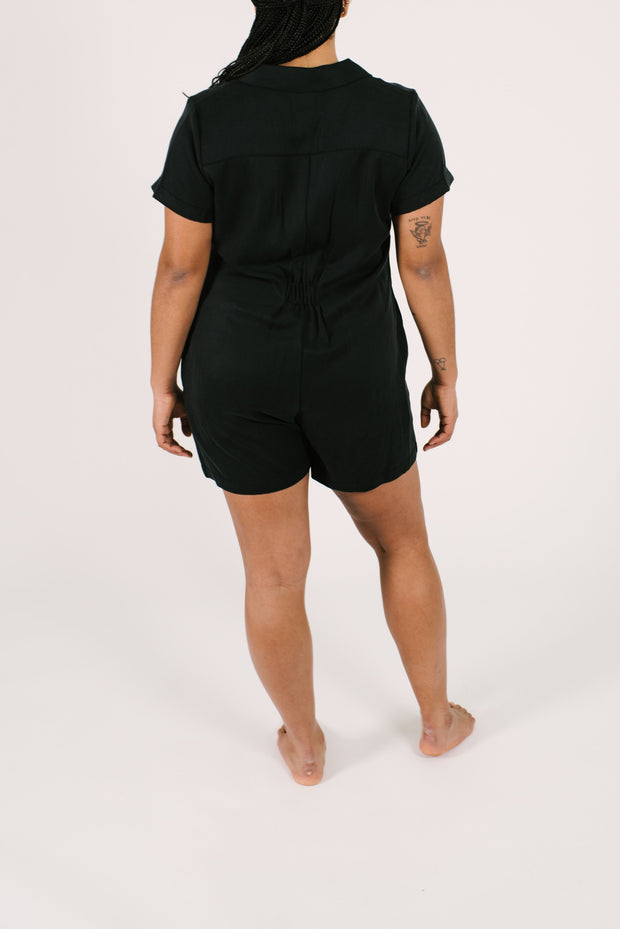 "The Shorty Coveralls | Maya is 5'8"" wearing Size Large"