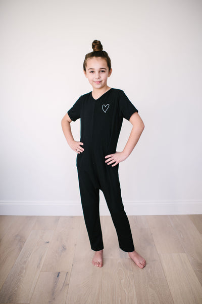 The Mini Alliance of Moms Romper | London is 8yrs wearing an 8/9