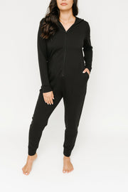 JH x SMASH + TESS - THE JILLY JOGGER ROMPER IN MIDNIGHT BLACK