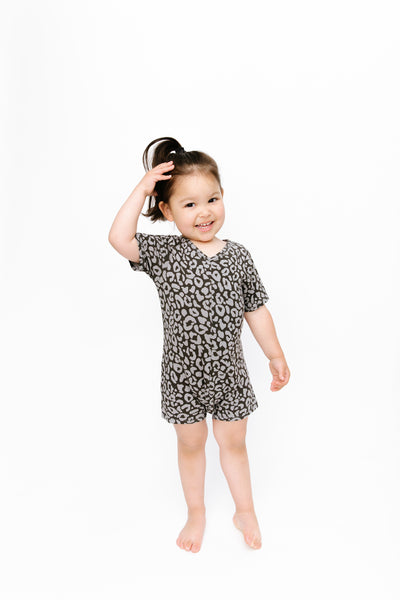 the mini sunday shorty in grey lola leopard | Bella is wearing size 2T