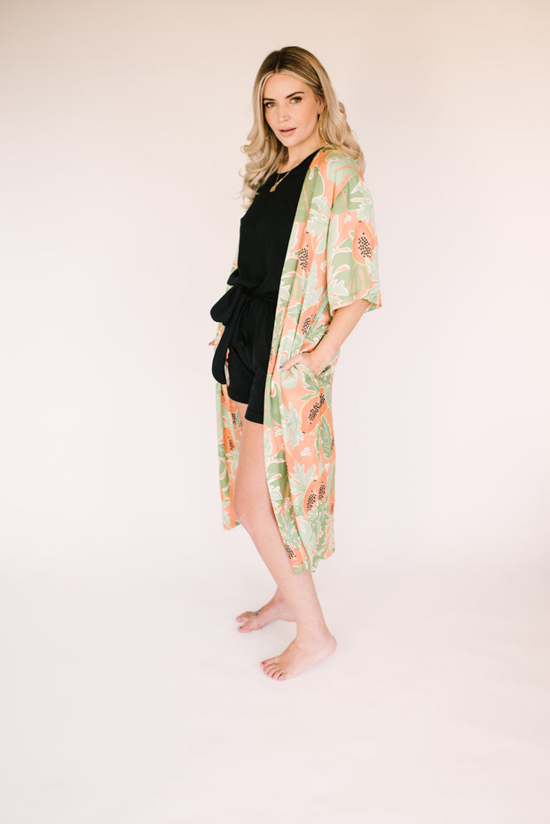"The papaya duster | Sarah is 5'8"" wearing size Small"