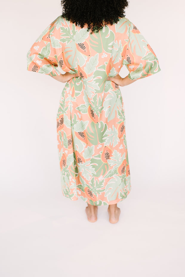 "The papaya duster | Taya  is 5'3"" wearing size XXS"