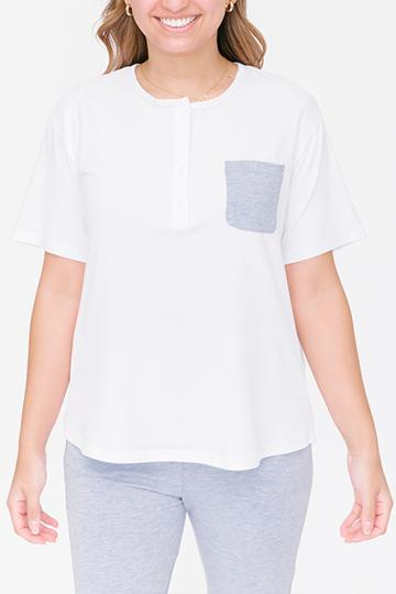 THE S+T PERFECT POCKET TEE IN BRIGHT WHITE