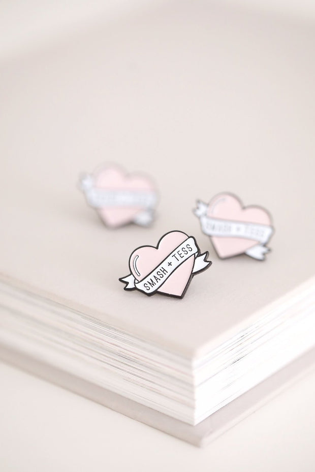 "Heart Shaped Enamel Pin | 1"" wide enamel pin"