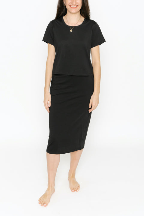 THE STREET TO CHIC SKIRT IN MIDNIGHT BLACK