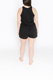 S+T x HILARY DUFF - THE S+T SHORTY LAUREN ROMPER IN MIDNIGHT BLACK