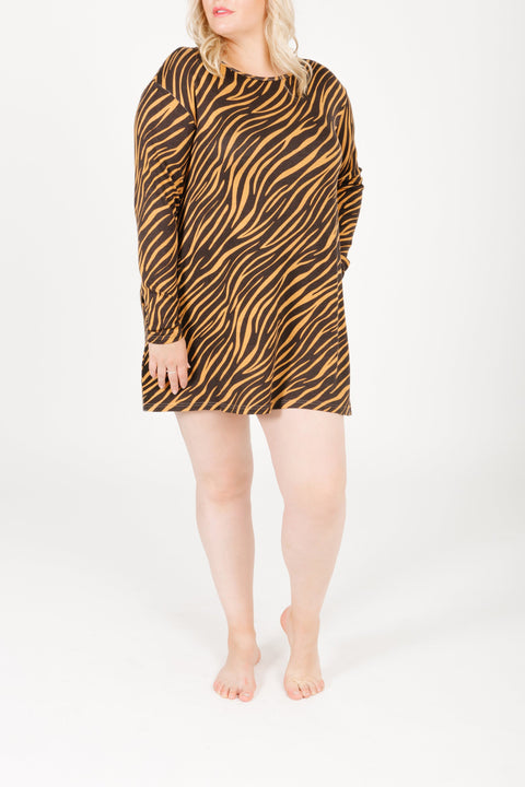 THE S+T SWEATER-WEATHER DRESS IN TERESA TIGER