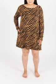 PERFECTLY IMPERFECT - THE S+T SWEATER-WEATHER DRESS IN TERESA TIGER