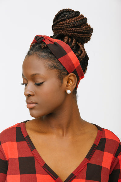 THE S+T PRESENT KNOTTED HEADBAND IN POINSETTIA PLAID