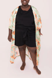 "The Papaya Duster | Lydia is 5'2"" wearing size XXL"