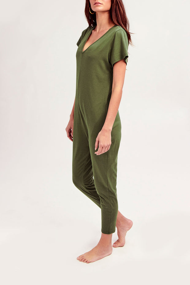 THE SUNDAY ROMPER IN MOSS GREEN