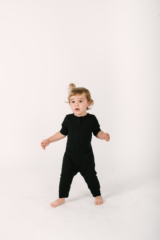 THE MINI MONDAY ROMPER IN MIDNIGHT BLACK