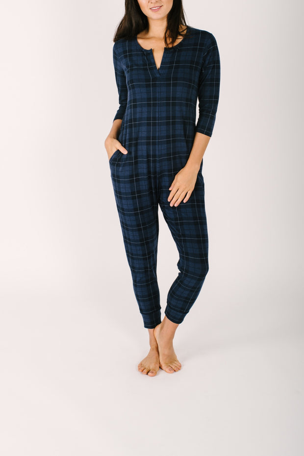 "The Present in Plaid Romper | Nalania is 5'8"" wearing a Small"