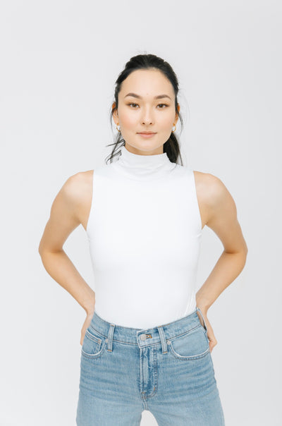 THE TURTLENECK BODYSUIT IN BRIGHT WHITE