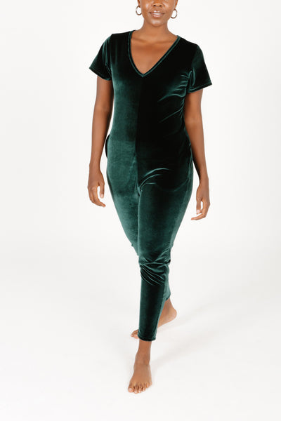 THE S+T SUNDAY VELVET ROMPER IN ELEVATED EMERALD