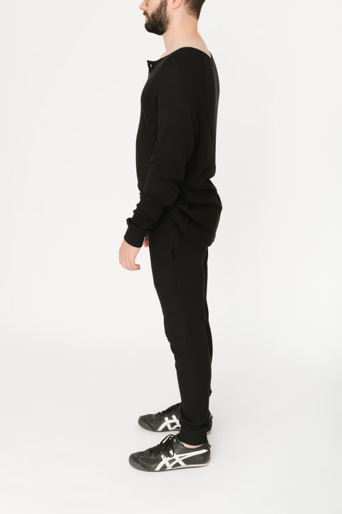 THE S+T GUY WAFFLE JOGGER IN MIDNIGHT BLACK
