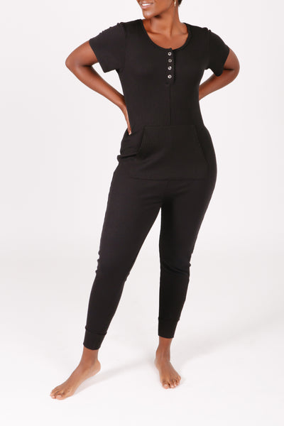 "The s+t anyday city romper | iman is 5'6"" wearing XS"