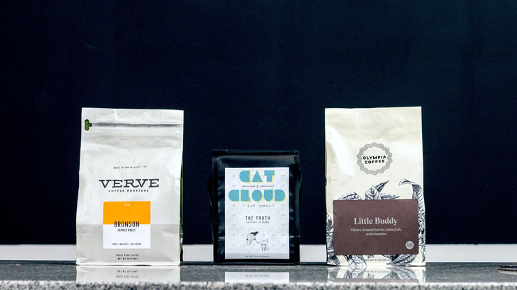 Olympia Coffee Roaster's Little Buddy Blend, Cat and Cloud's night-shift coffee blend, Verve bronson-french-roast,