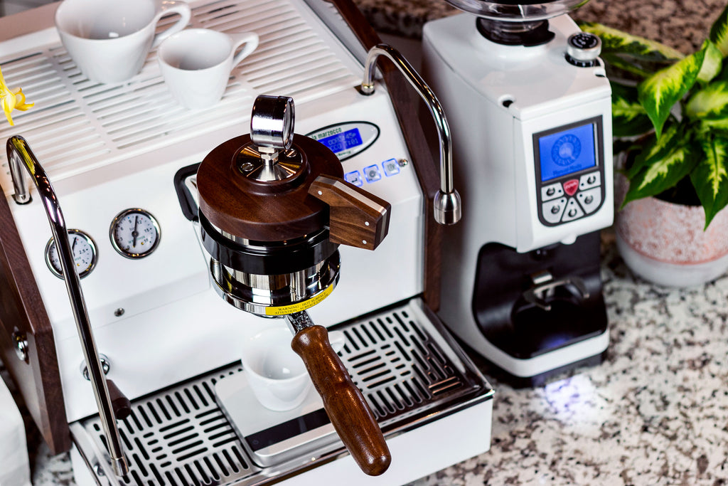 A La Marzocco GS3 espresso machine with an Acaia Pearl on its drip tray, Clive Coffee - Lifestyle