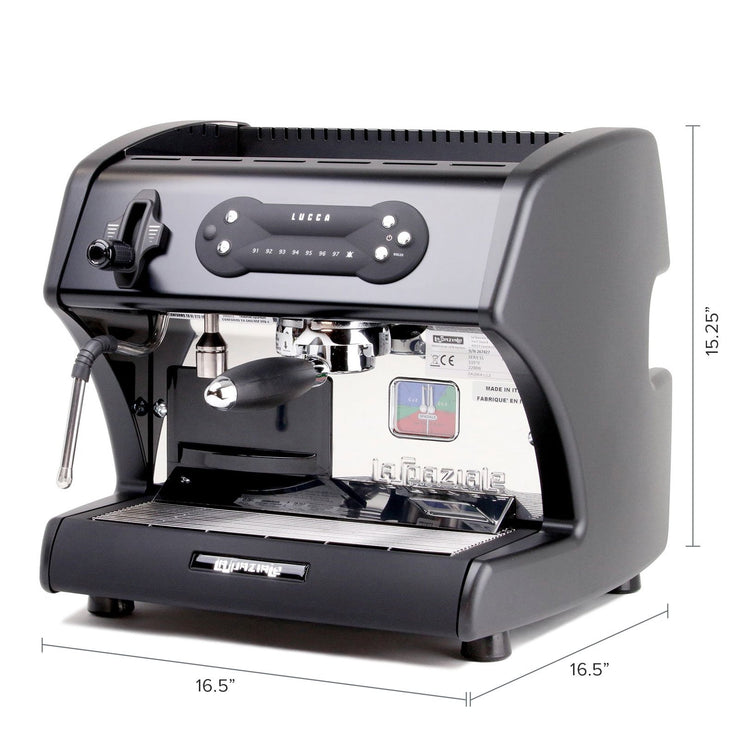 Lucca A53 Mini Espresso Machine in Black by La Spaziale dimensions from Clive Coffee - Product Image