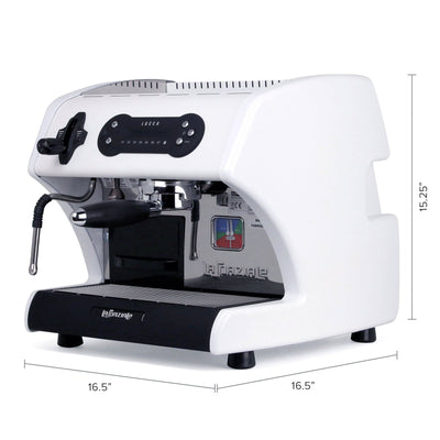 Special Edition White LUCCA A53 Mini Espresso Machine by La Spaziale from Clive Coffee dimensions