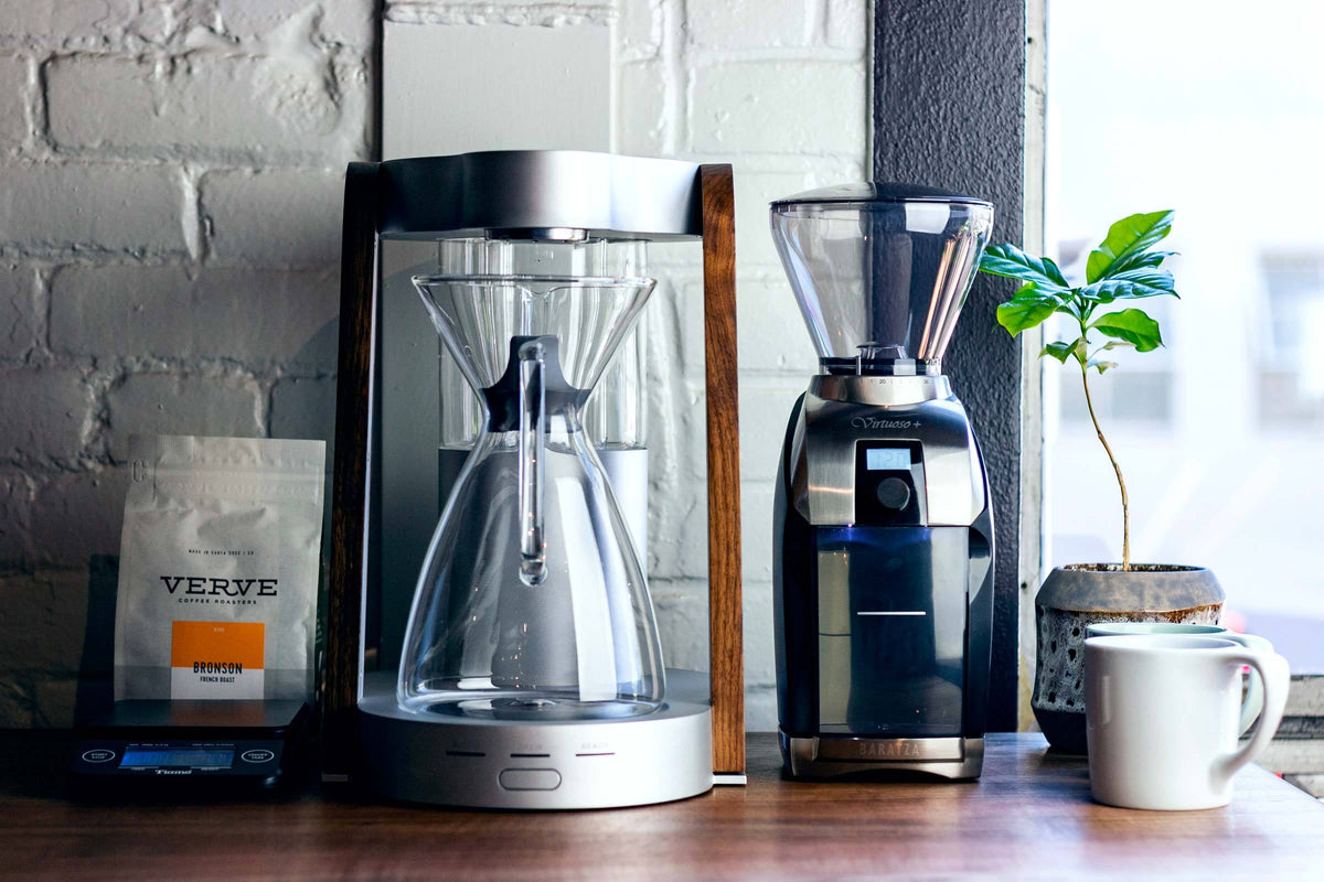 Baratza Virtuoso+ coffee grinder with Ratio Eight coffee maker, Clive Coffee - Lifestyle
