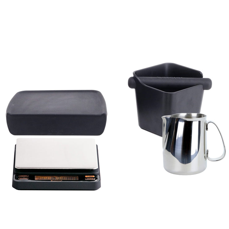 Espresso accessories package with cafelat steaming pitcher, knockbox, and tamping mat, Brewista Smart Scale, Clive Coffee - Knockout