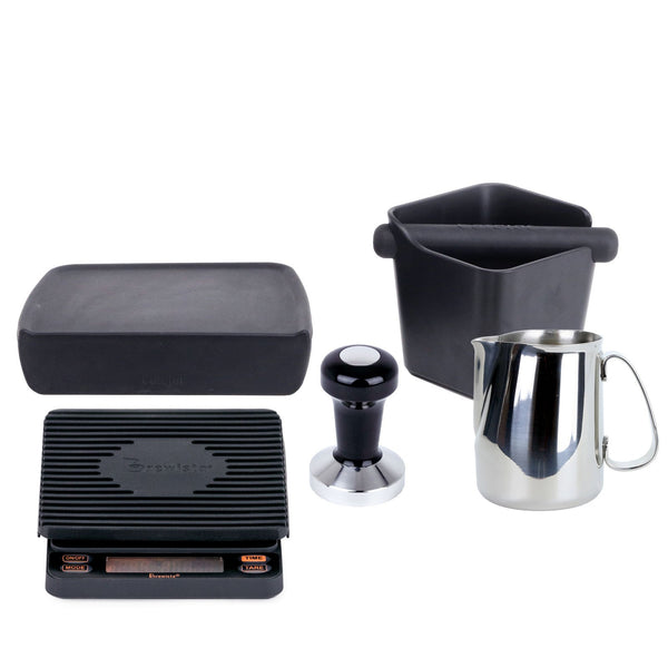 Espresso accessories package with, rhino tamper, cafelat steaming pitcher, knockbox, and tamping mat, Brewista Smart Scale, Clive Coffee - Knockout