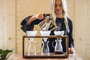 Wood Pour Over Triple Stand from Clive Coffee - Lifestyle