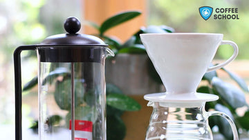 Online Coffee School, Intro to Home Brewing, Hario V60 pour over, French Press