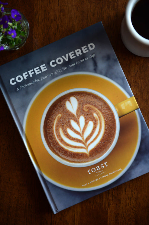Roast Magazine Coffee Covered book by Clive Coffee - Lifestyle Image