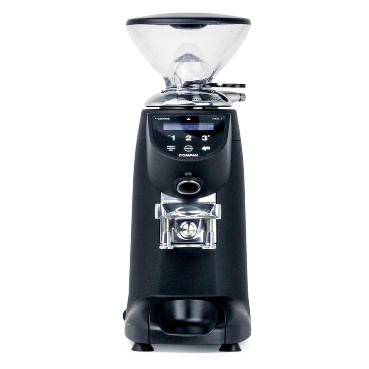 Compak E5 espresso burr grinder, front view from Clive Coffee - Product Image