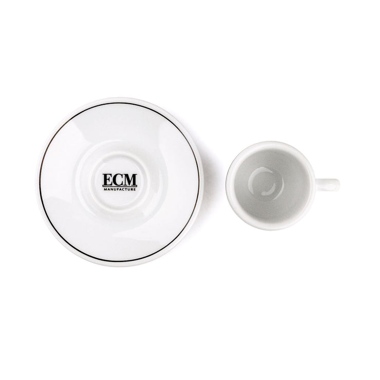 ECM espresso cup and saucer, top down view - knockout