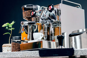ECM Angled Bottomless Portafilter from Clive Coffee - Lifestyle Image