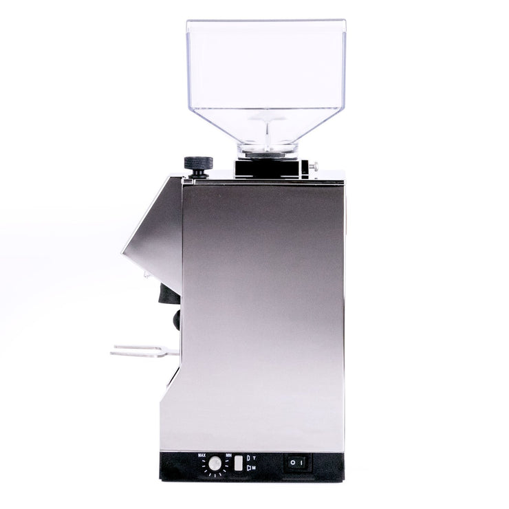 Eureka Mignon Silenzio espresso grinder chrome side from Clive Coffee