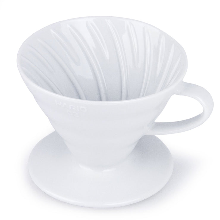 Hario V60 White Ceramic Coffee Dripper, Clive Coffee - Knockout