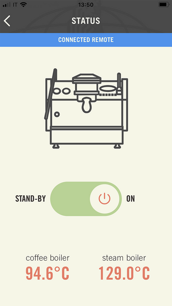 La Marzocco Linea Mini Espresso Machine Retrofit Kit app screen from Clive Coffee - knockout