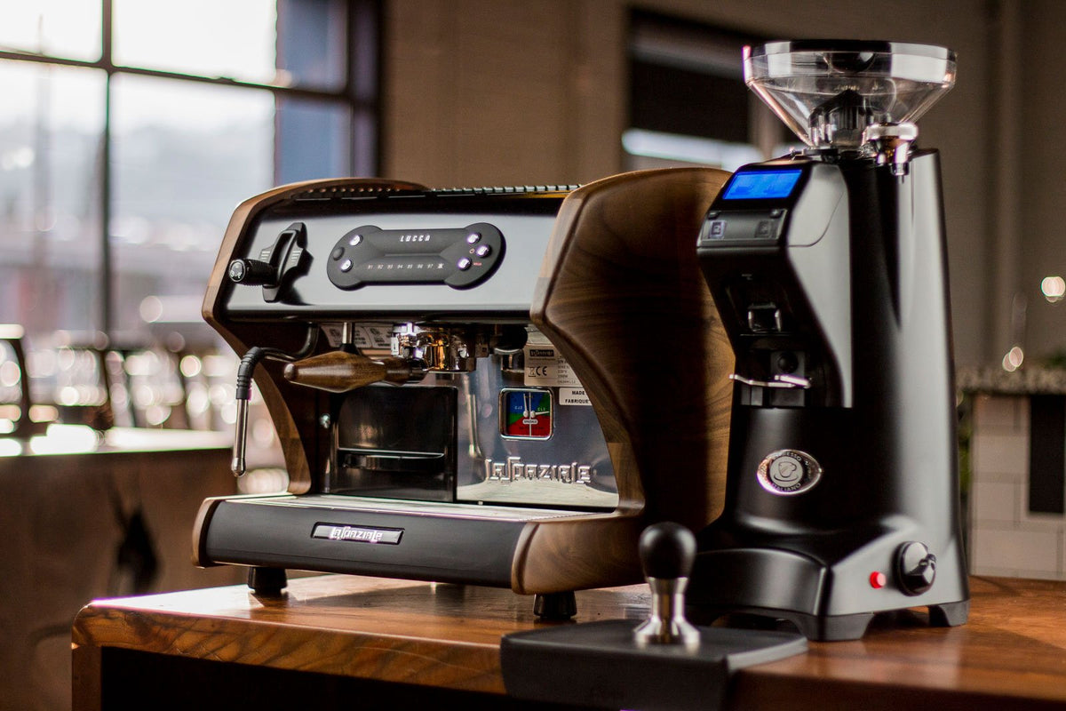 Eureka Olympus 75E High Speed Espresso Grinder with LUCCA A53 Mini from Clive Coffee - Lifestyle