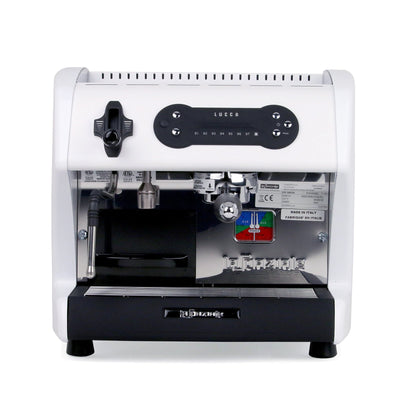 Special Edition White LUCCA A53 Mini Espresso Machine by La Spaziale from Clive Coffee front view - Product Image