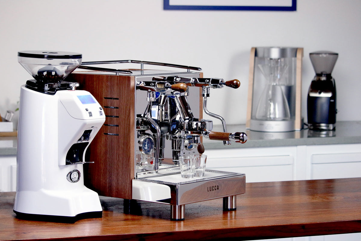 LUCCA M58 espresso machine with Walnut Wood Panels from Clive Coffee alongside a Eureka Zenith grinder - Lifestyle