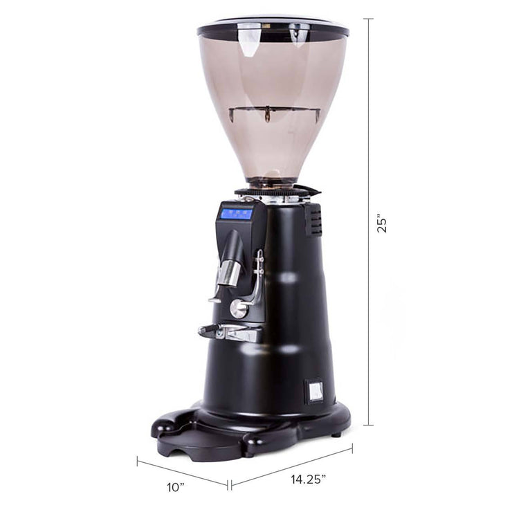 Macap M7D Conical Doserless Espresso Grinder black dimensions tall hopper by Clive Coffee - Product Image