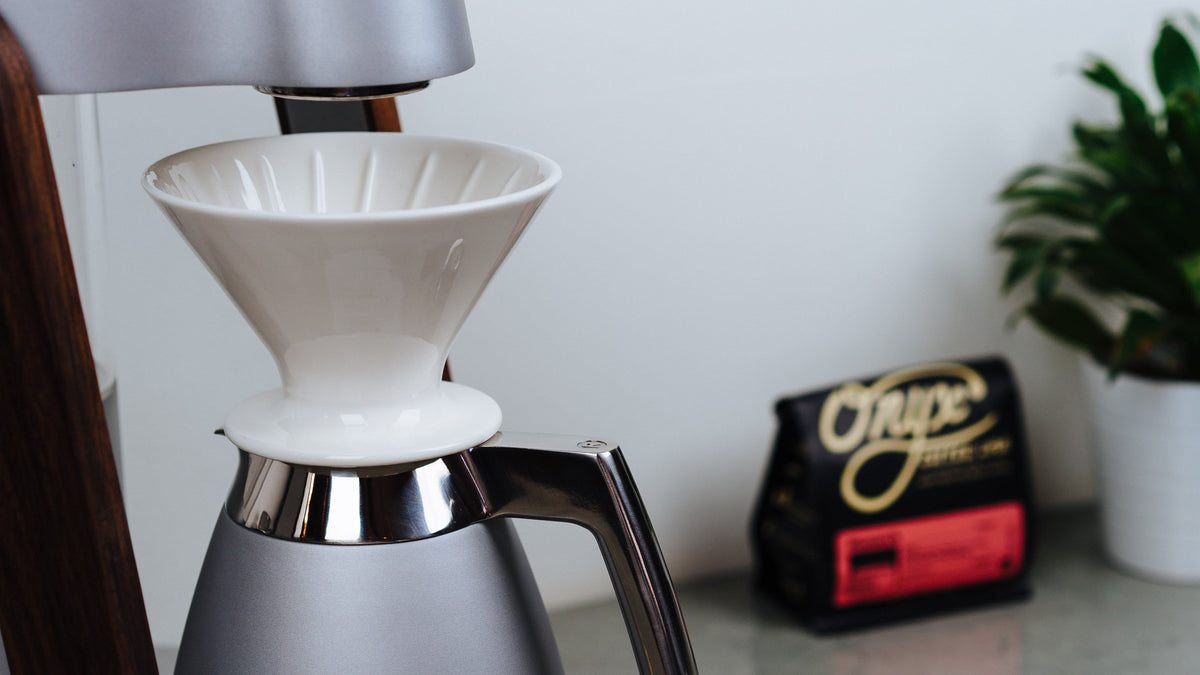 Ratio Coffee Maker Porcelain Dripper, Clive Coffee - Lifestyle